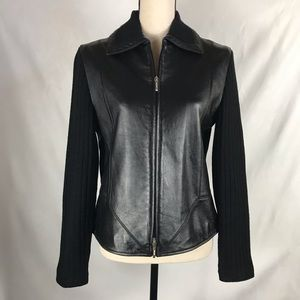 Coldwater Creek Leather and Ribbed Sweater Jacket